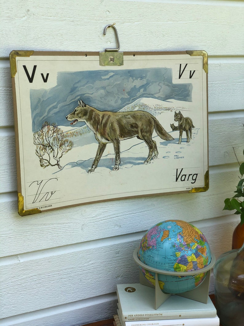 Vintage Swedish school house poster letter illustrations  art poster Sweden wolf  varg