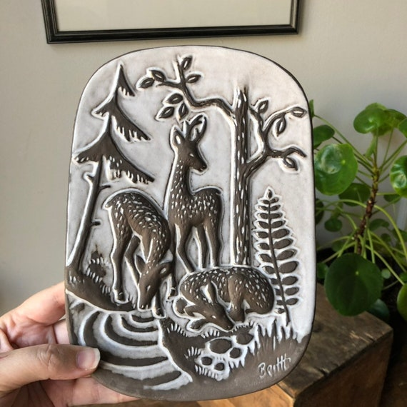1950s/ ceramic plaque from the Swedish potter Norrman Motala featuring deer wall hanging