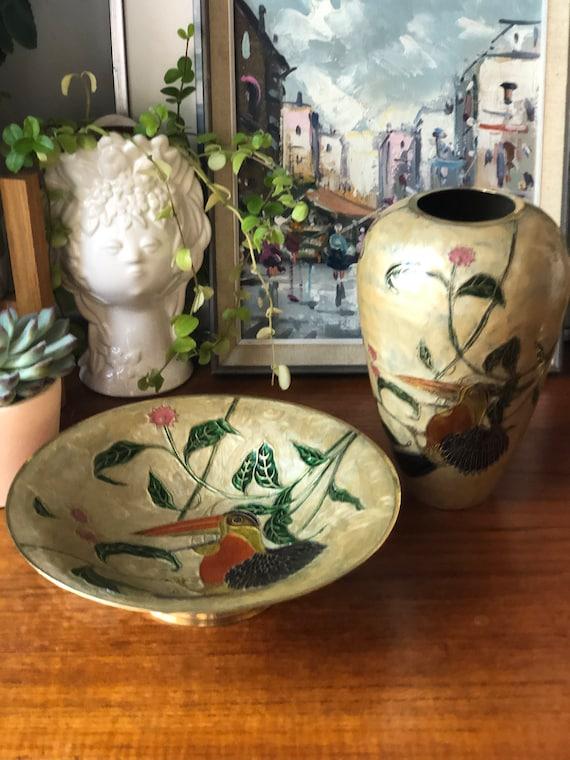 Cloisonné in brass vase and bowl set gold parrot bird motiff orange green  chinoiserie decor Hollywood regency Art Deco