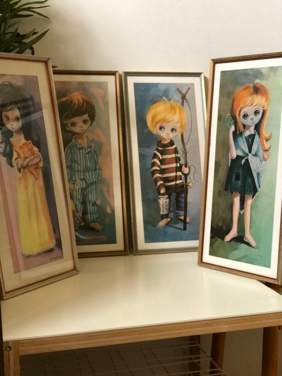 Set of 4 vintage large eyed children framed prints by B Golding set of 4 kids
