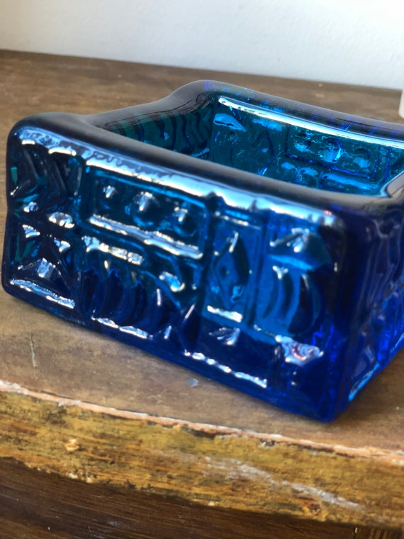 Swedish glassworks cobalt blue glass Sweden midcentury glass cobalt blue modernist midmod textured
