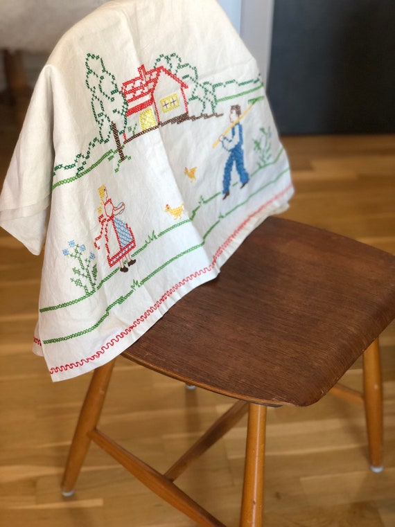 Vintage hand towel cover tea towel cover embroidered with Scandinavian farm house motif