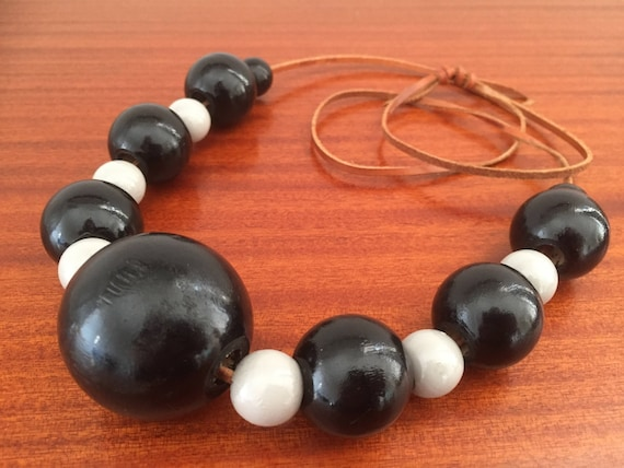Vintage/large/wooden bead necklace/boho/black and grey/adjustable