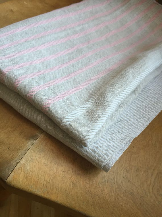 Vintage Scandinavian linen cotton blend tablecloth/ natural fibers hygge Scandinavian collection pink accent stripes greige