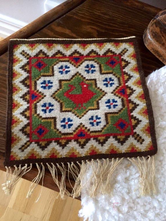 Handwoven kilim wallhanging turkey folk art traditional Flemish slow art flamsk native art Scandinavian nordic
