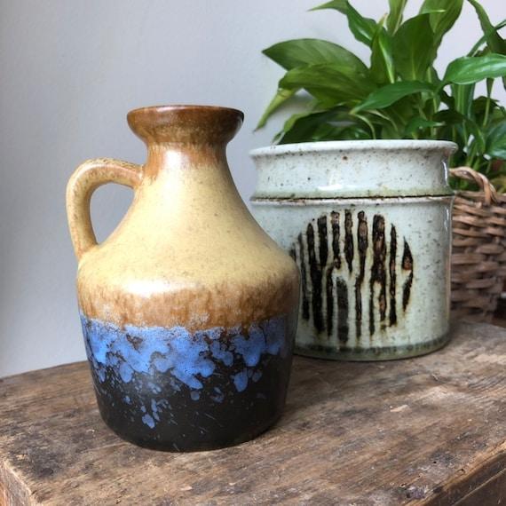 Strehla East German Pottery Vase fat lava beige and blue 999 WGP west german pottery