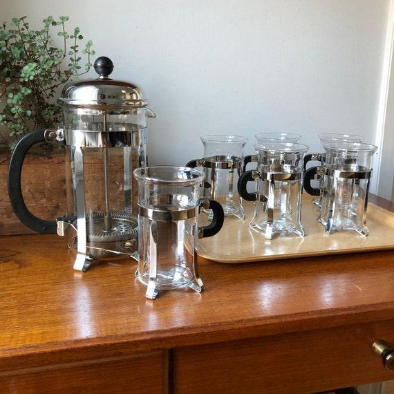 Set of Danish Scandinavian hot beverage glasses Bodum coffee press Scandinavian design black handles  with matching cups 1980s