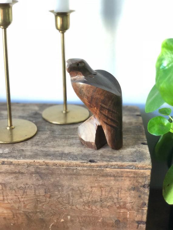 Scandinavian hand carved eagle figurine rustic wooden hardwood dark