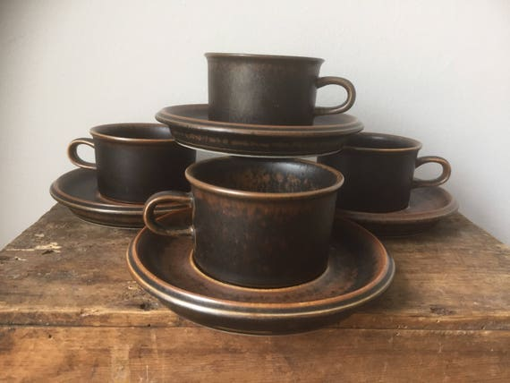 set of 4 /Arabia/Finland/RUSKA/Espresso/coffee/Cups and Saucers/Designed by/Ulla Proscope/1960s/midcentury modern