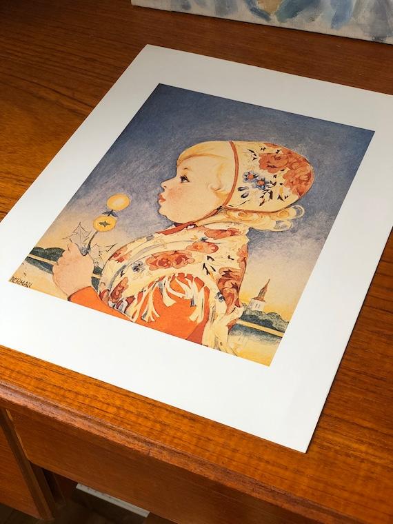 Vintage Swedish Einar Nerman print traditional drakt Wall decor art Scandinavian foIk art