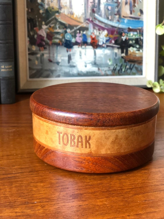 Swedish hand turned midcentury modern  wooden tobacco bowl with lid storage handcrafted teak with leather inlay stripe