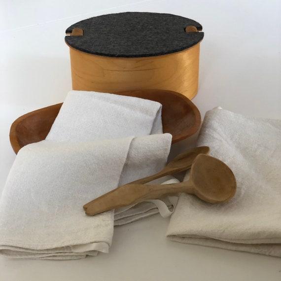 Set of 2 Vintage woven linen Scandinavian hand towels kitchen towels monogram JL white on white