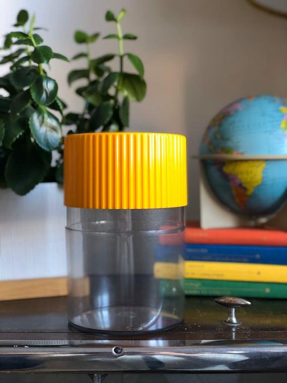 Retro hard plastic storage from IRA Denmark 1970s yellow lid Scandi Scandinavian midcentury modern