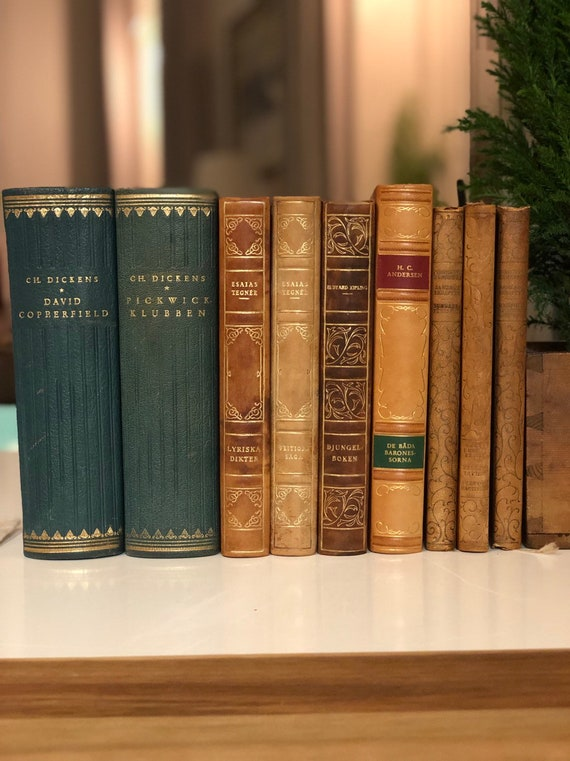 Lot of Vintage Swedish books, leather bound, book grouping / shelf decor / classic books Sweden / Scandinavian