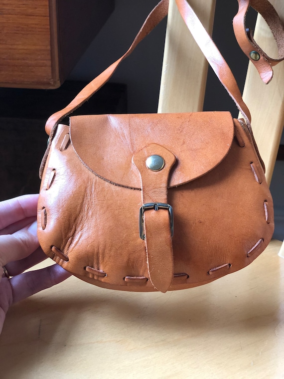 Small Boho leather simple crossbody satchel leather purse