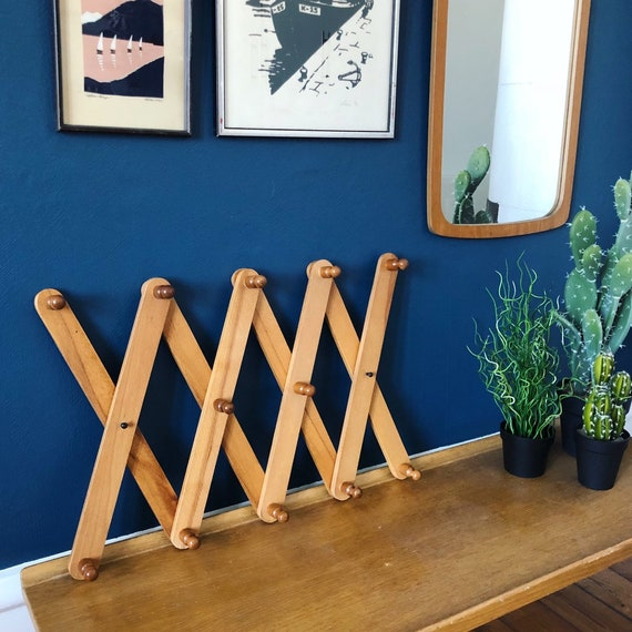 Vintage wooden accordion hat rack retro scandi boho coat track