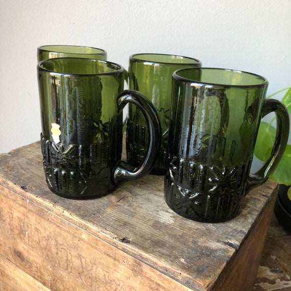 Swedish hand blown green beer steins 1970s set of 4 Skruf glassworks
