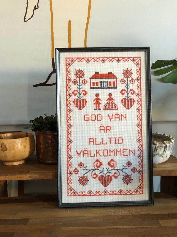 Swedish Cross Stitch needlepoint framed quote God vän är alltid välkommen wall hanging Good friends are always welcome orange and grey