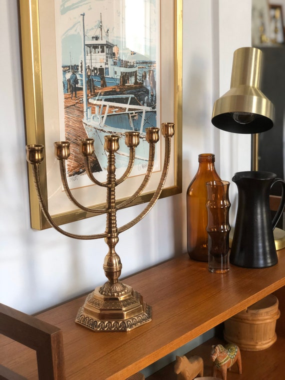 Heavy bronze menorah vintage pedestal stunning 7 arm bronze malm
