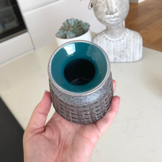 Small wgp modernist vase with grey and turquoise blue jug midmod