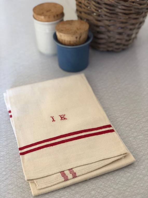Vintage woven Scandinavian hand towel kitchen towel monogramed IK red and white/ beige  farmhouse kitchen