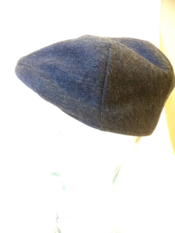 Vintage /wool/cap with quilting/gray blue/ paperboys cap/1970s