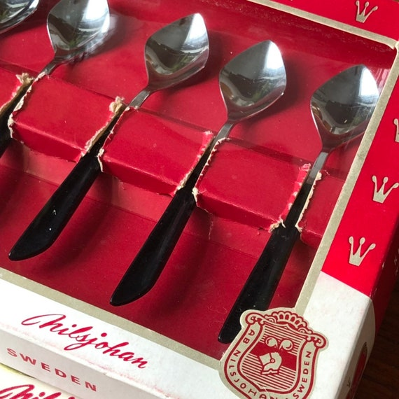 Swedish dessert tea spoons by Nils Johan Scandinavian mid modern spoons set of 6 stainless steel made in Sweden original box