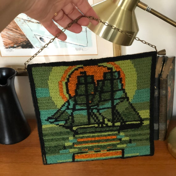 Swedish folk Art needlepoint wall hanging vibrant colors boat sunset green and orange embroidered embroidery traditional Scandinavian