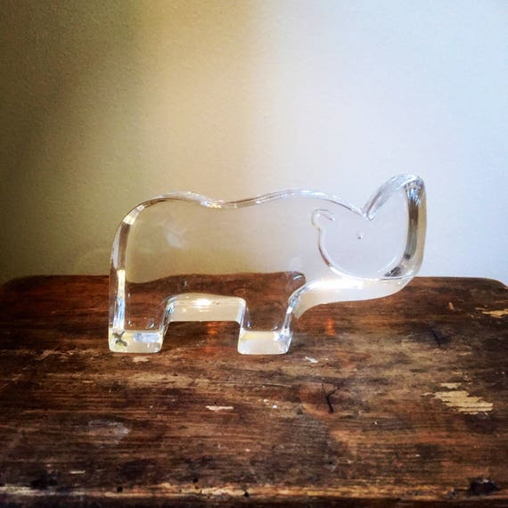 Crystal/glass animal/rhino/kosta Boda/bertil Vallien /flat/streamlined/Rhinoceros