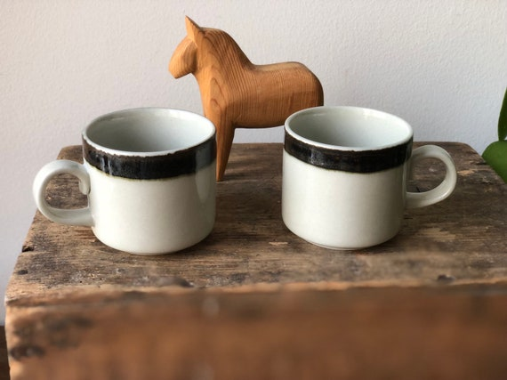 Pair of Arabia espresso wärtsila Karelia coffee cups by Jaatinen-Winquist from 1970/Finland