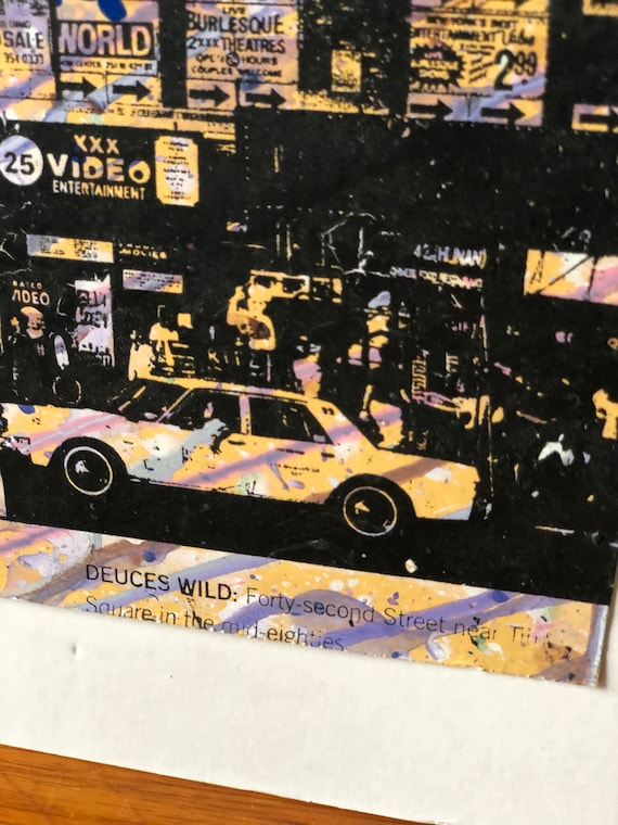 Vintage mixed media New York print 80s duces wild forty second street near time square in the mid 80s