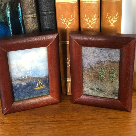 Pair of small vintage Swedish needle felted framed sea scape birds / landscape made with Swedish wool Scandinavian framed art vibrant colors