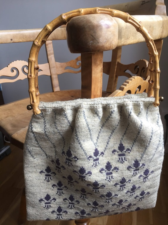 Woven tapestry bag with bamboo handles fluer de lis pattern French handbag