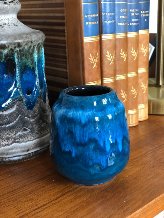 Small West German Pottery Vase blue numbered WGP west german pottery