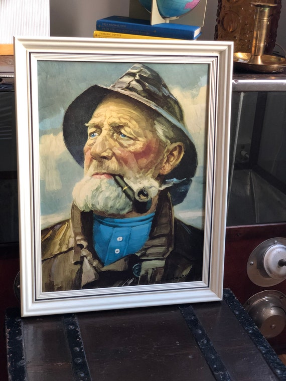 Iconic vintage Old Salty Fisherman with pipe framed printed on board excellent condition 1970s man with pipe