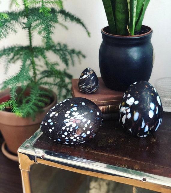 Set of Boda Glass Eggs designed by Monica Backström brown speckled eggs figurine / Boda  /1960s / bohemian retro