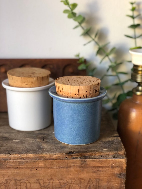 Pair Stig lindberg /Jars /Mustard Pot / Mustard Jar/ Pottery/ Gustavsberg /Sweden /Scandinavian Design /Apoteken /kitchen storage