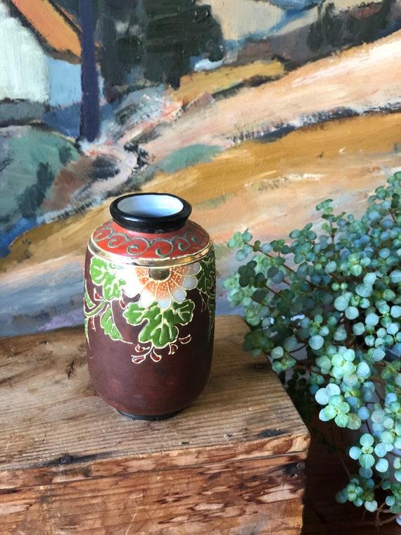 Vintage 1930s Japanese hand painted vase by Tashiro boho bohemian style  chinoiserie