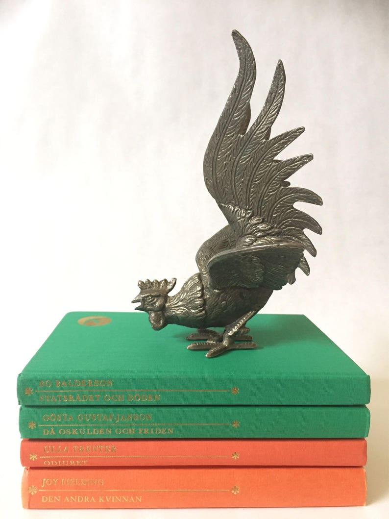Victorian /Vintage/Pewter/rooster/made in Italy/hollywood regency  chinoiserie