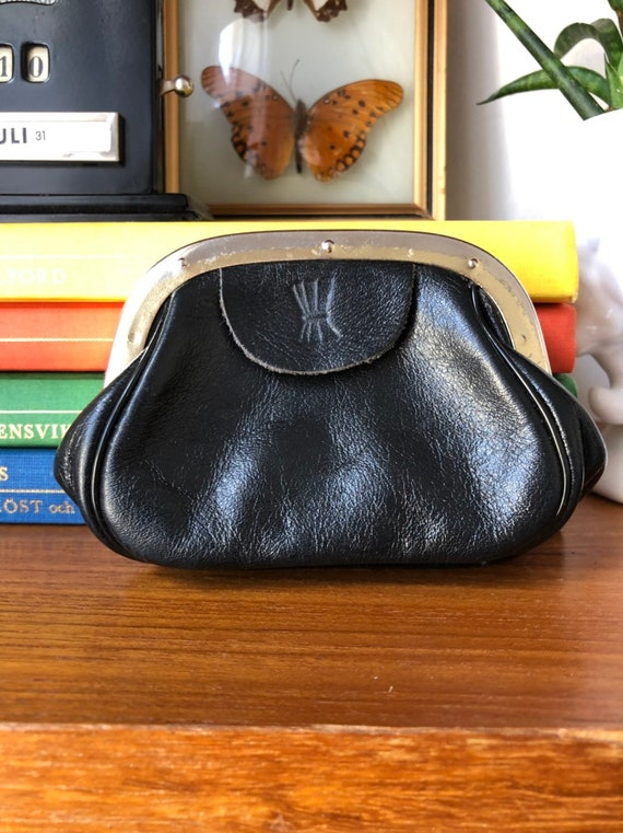 Leather coin purse Swedish vintage 1960s leather purse sweden black