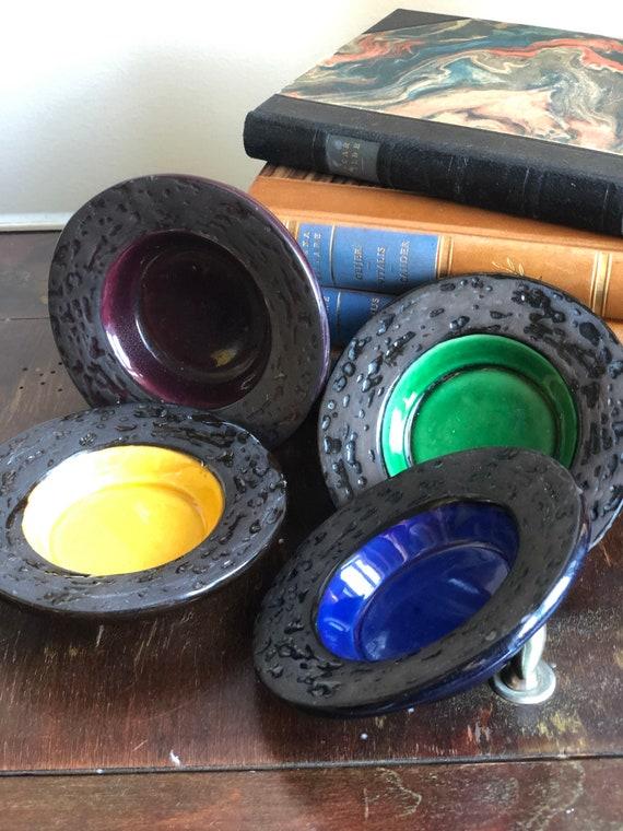 Upsala Ekeby votive candle holders/set of 4 Swedish Sweden ceramic tea light holders 1960s designer Britt philipsson