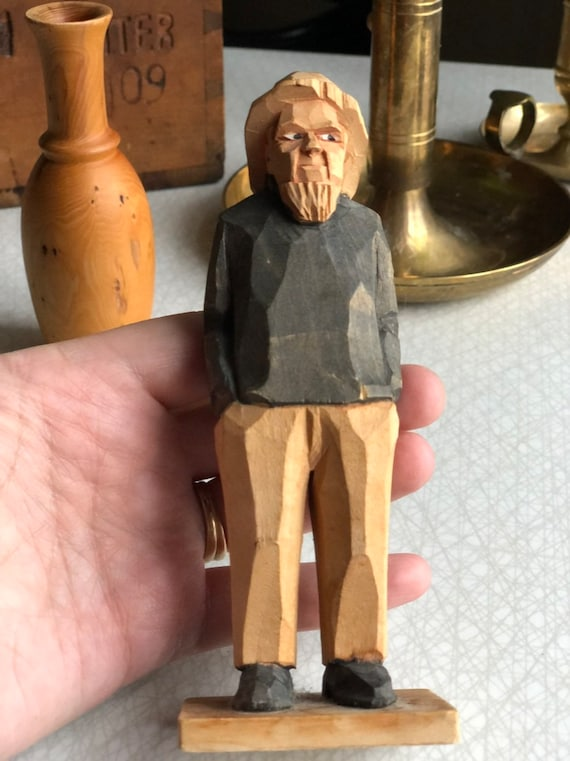 Swedish hand carved old fisherman sailor figurine painted from 1960s
