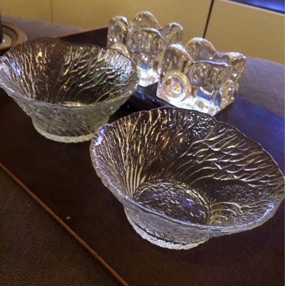 Pair/Mäntsälän Lasisepät Metsä /glass bowls/Forest bowls/designed by/Pertti Kallioinen /1980's.