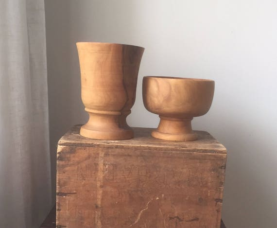 Pair of Swedish /hand carved/turned /midcentury modern /wooden bowl/primitive/handcrafted
