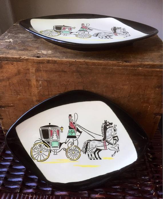 Rare West /German /Midcentury /plates/ by /Steingutfabrik /Staffel /1950s/wallhanging plates/decorative plates