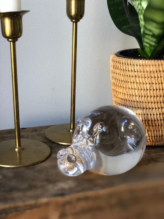 Hippo crystal glass figurine kosta boda flat back 1970s hippopotamus
