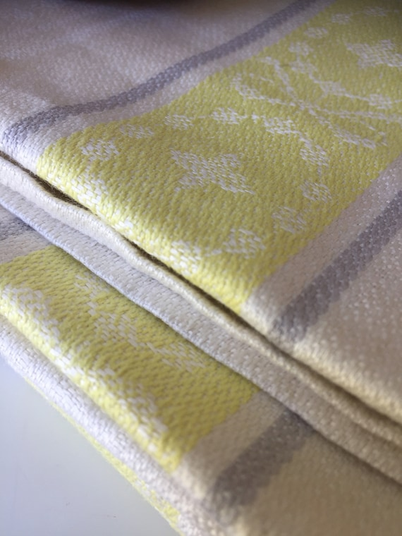 Vintage/pure linen/Almedahls/woven/Scandinavian/hand towel/kitchen towel/set of 6 /greige/ yellow/ natural