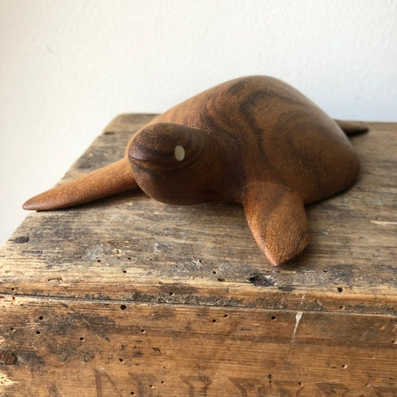 Scandinavian teak turtle with mother of pearl eyes wooden carving mid-century / carved animal boho pet