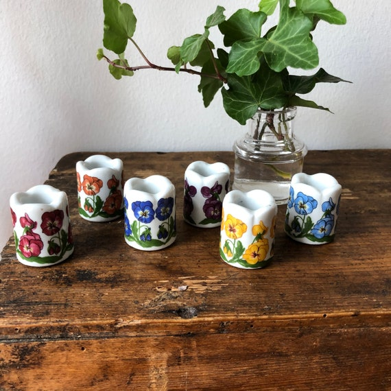 Sweet set of 6 ceramic mini candle holders from west German Funny Design bright vivid flowers / succulent holder whimsical  /1980s