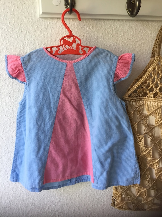 Girls/vintage/apron dress/blue/pink/capped sleeves/ cotton /dress/80s/ Scandinavian /Swedish